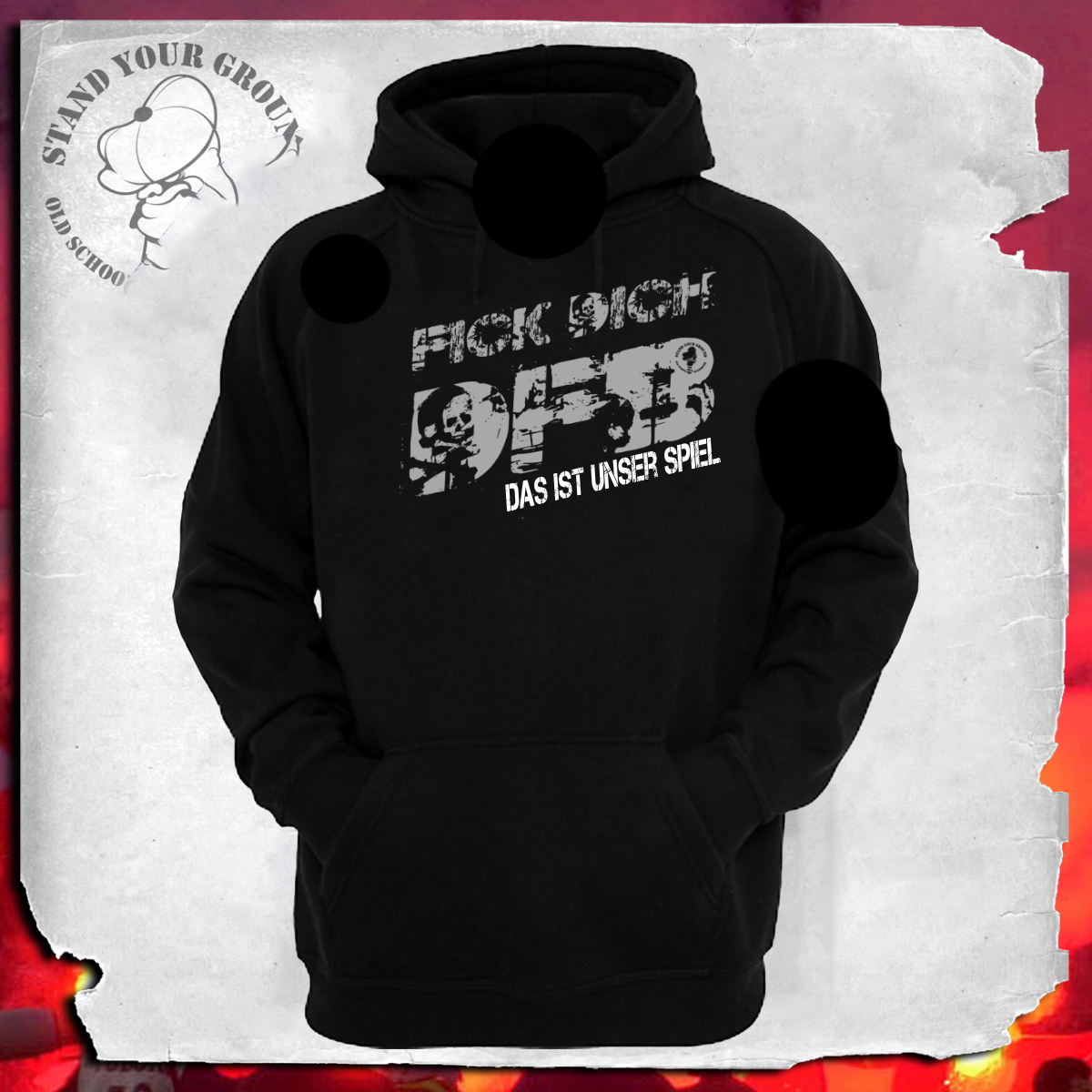 herren hoodie fick dich dfb stand your ground. Black Bedroom Furniture Sets. Home Design Ideas